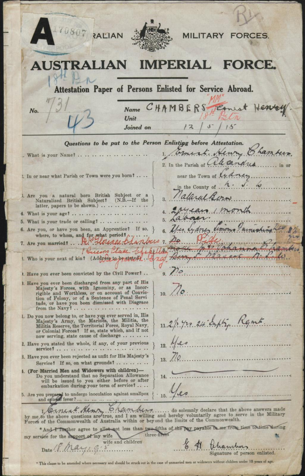 Ernest Chambers Enlisting 1