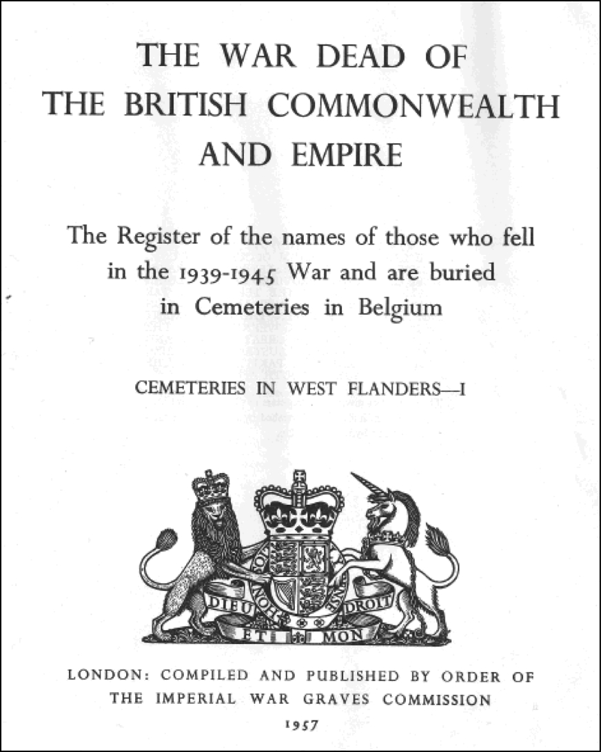 War dead register cover