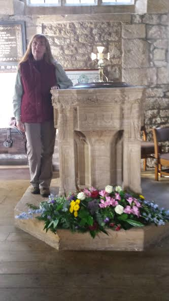Me standing by the font in the  Church of St Mary the Virgin, Bradford Abbas